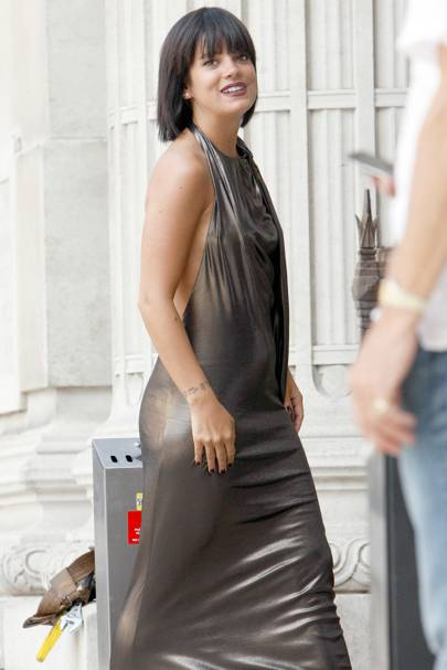 754ec40ac4 The jury is out on this metallic maxidress worn by Lily Allen. Yes she  pulls it off