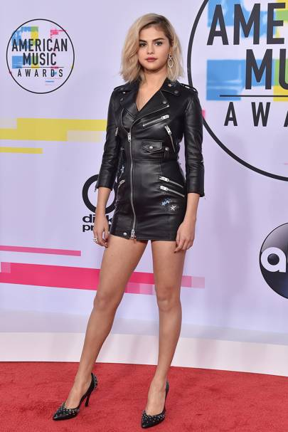 4e868d7407 Selena wears a leather jacket dress at the 2017 American Music Awards