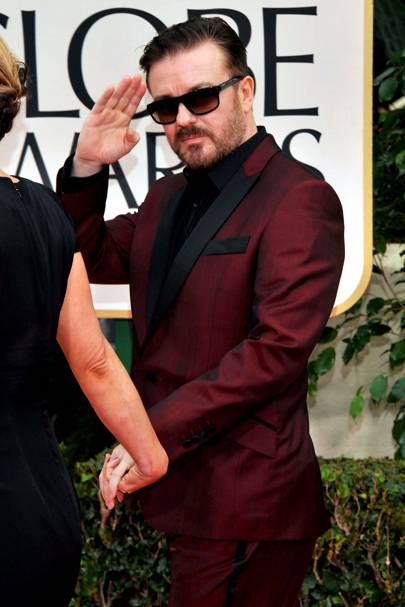 Ricky Gervais at the Golden Globes 2012