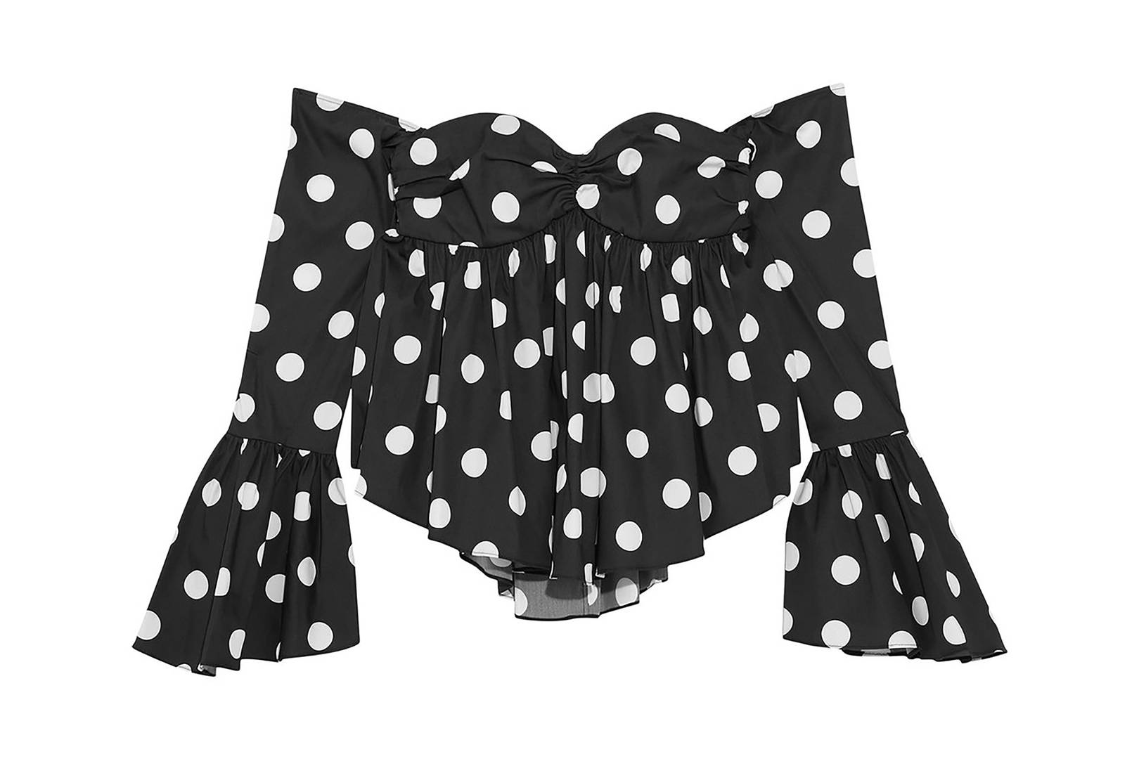 Resultado de imagen de TIMELESS POLKA DOT BLOUSE WHITE DOTS OVER BLACK