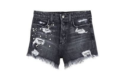 Black frayed shorts