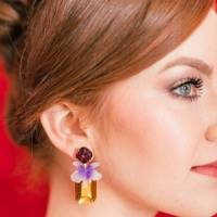 Wild Orchid Amethyst and Citrine Earrings by The Pink Reef