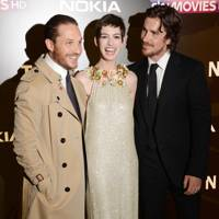Tom Hardy, Anne Hathaway and Christian Bale at The Dark Knight Rises premiere