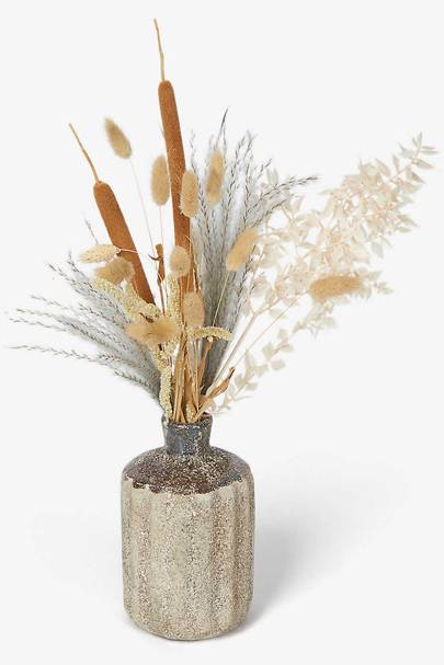 Dried flowers with vase: stipa, amaranthus, white ruscus, babala and Natural Rabbit tail