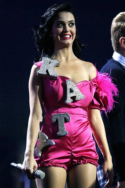 5c380ad0e37 And who can forget the pink playsuit with her namesake on it... Katy Perry   Hair Icon