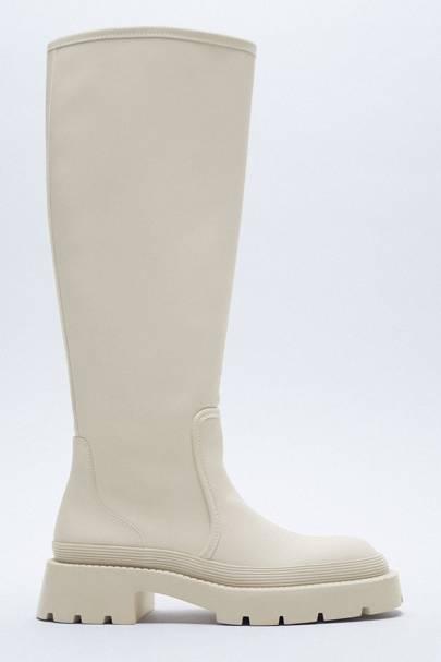 ZARA: Cream Knee-High Boots