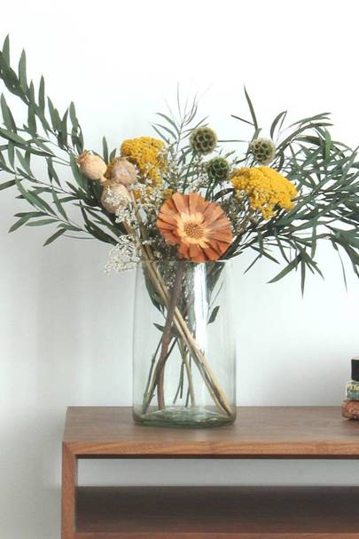Sustainable dried flower and eucalyptus bouquet