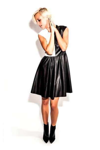 Vegan Leather Chessboard Dress by Sabine Feuerer