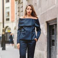 The off-the-shoulder suit