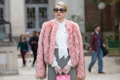 Chanel's pink faux-fur & pussy bow blouse ensemble