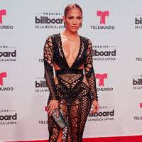 J.Lo in a black cut-out sheer dress