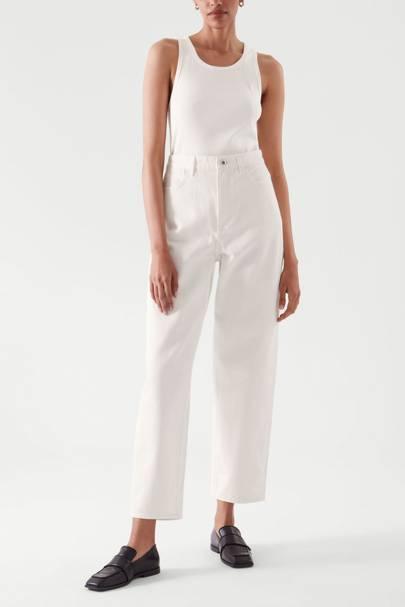 Tapered leg white jeans