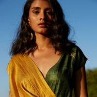 Tussar Silk Drape Dress by Bona Buni