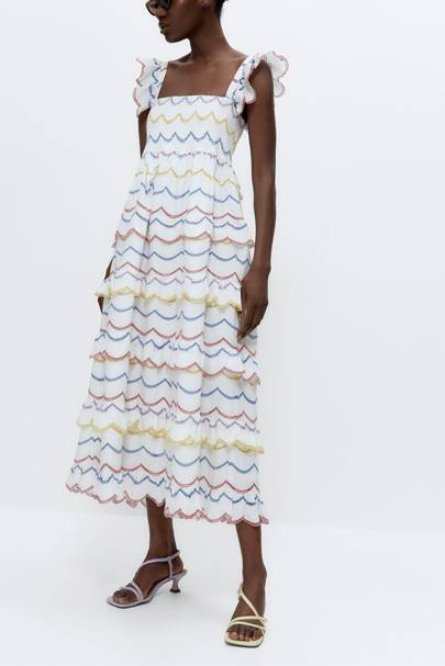 SUMMER DRESSES FOR BIG BOOBS: The Embroidered Tiered Dress