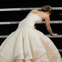 Her acceptance speech after tripping onstage at the Oscars