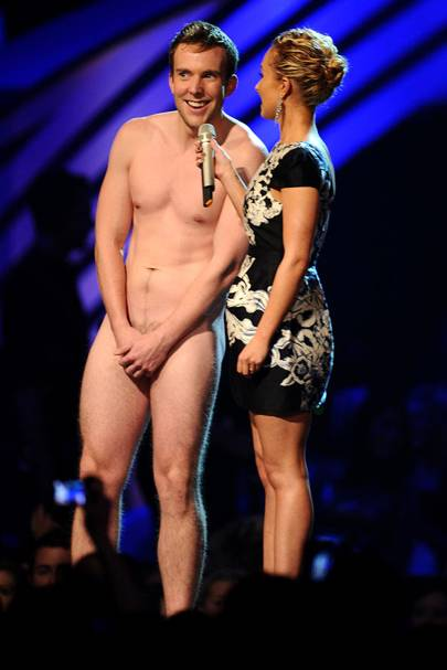 Hayden Panettiere and a naked guy at the MTV EMAs 2011
