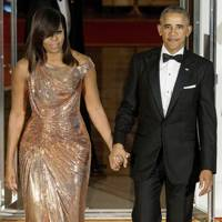 Michelle Obama with Barak for their final state dinner in 2016