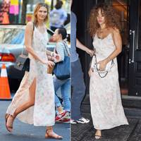 Floral slip dress: Karlie or Rihanna?