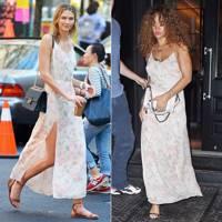 Floral slip dress: Karlie or Rihanna?