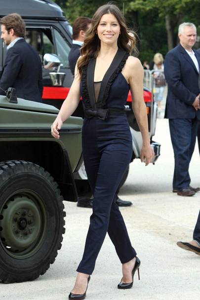 61344621e8d9 Could this look BE any cuter  Jessica Biel WORKED this navy blue Erin  Fetherston jumpsuit at a photocall in Paris – making the look her own by  adding a mesh ...