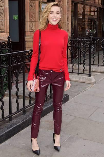 Vinyl Trend Celebrities Wearing Latex Dresses Trousers
