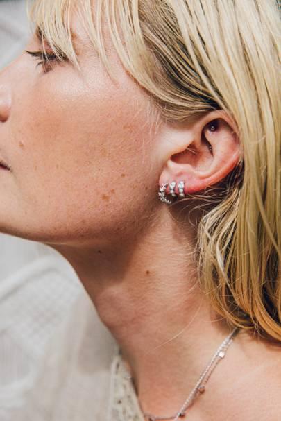 Silver Crystal Leaf Gem Huggie Earrings by ZuZu Jewellery