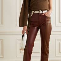 Leather trousers: the colour-block pair