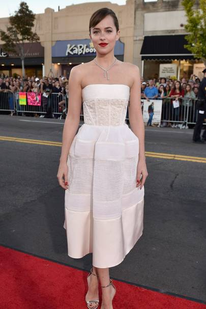 We Loved The Beautiful White Strapless Gown Dakota Rocked On Red Carpet At Premiere For Black M
