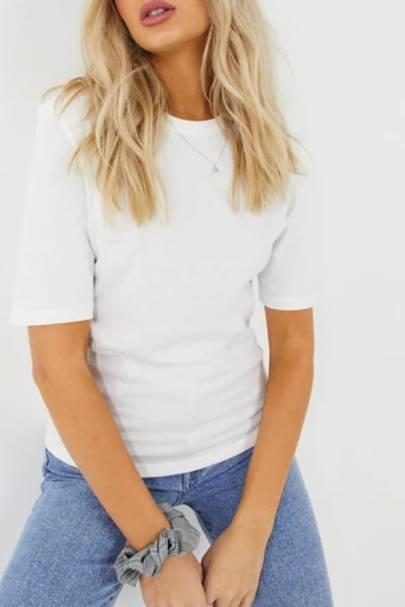 Best white t-shirt women: the shoulder pad tee