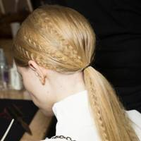 A crimped ponytail