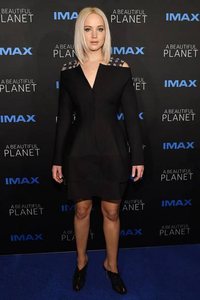7f199096bd Worn to the premier of A Beautiful Planet, J-Law rocked what we'd imagine a  dress from the year 2150 might look like.