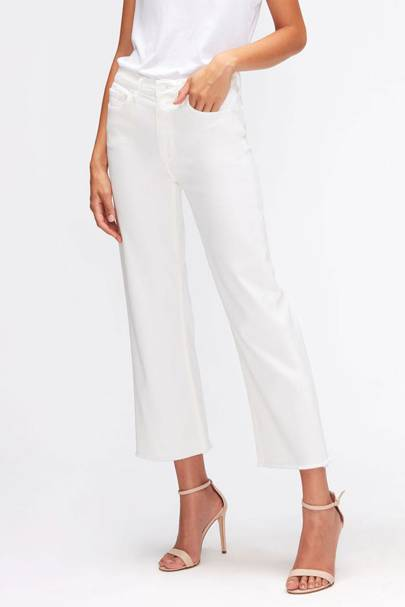 Best white jeans with frayed hem