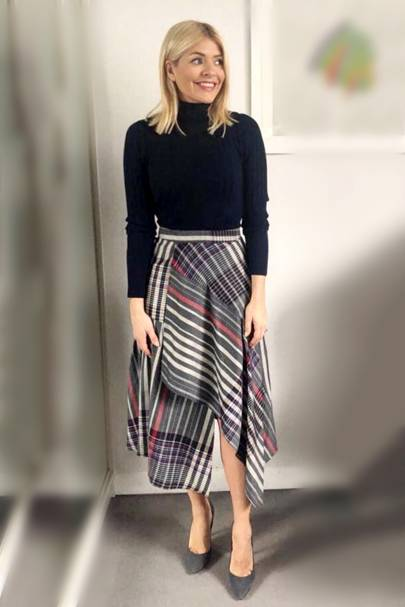 ... selling like hot cakes. Shutterstock. Holly made a transitional leap  into Spring with this tartan asymmetric wrap skirt from M S (£39.50) aa9822d02