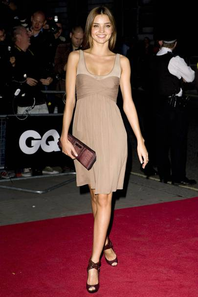 8b21314aa0 For the British GQ Men of the Year Awards in London just a couple of months  later, Miranda ensured all eyes were on her in this pretty, nude Burberry  ...