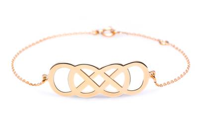 Ibiza Pink Gold Infinity bracelet from Infinity by Victoria