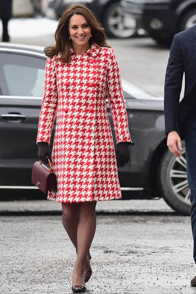 The Outfit: Catherine Walker houndstooth coat. The Buzz: An unusually (but  very welcome!) bold look from the Duchess. Bravo.