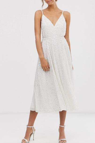 Best White Bridesmaid Dresses - Sequin Covered