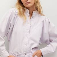 Mango Sustainable Denim Collection: the puffed-sleeve shirt