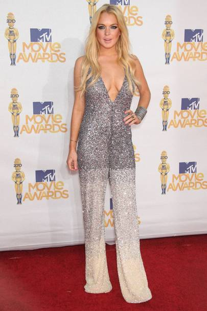 8191ec0cd23e Lindsay Lohan rocked the MTV Awards 2010 red carpet in this look-at-me  Pamella Roland
