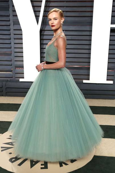 For The Oscars After Party 2017 Kate Bosworth Stunned In A Turquoise Green J Mendel Dress Tulle Skirt And Colour Had Princess Written All Over It