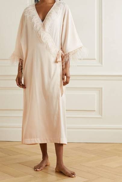 Bridal robes: the feather-trimmed robe