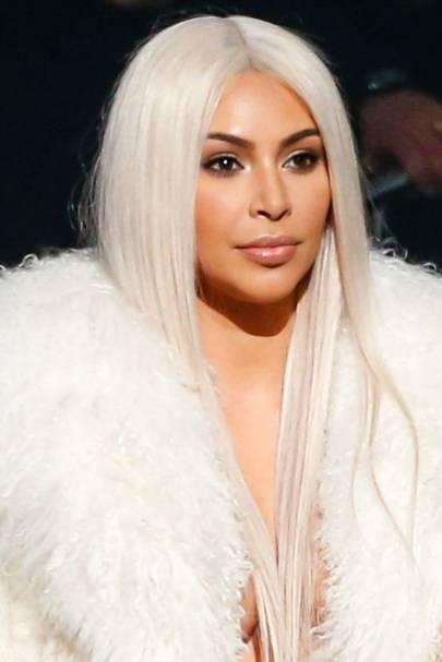 Kim Kardashian Blonde Wig Yeezy Fashion Week Show