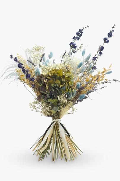 Dried flower bouquet UK: lavender, hydrangea, delphinium, phalaris, gypsophila