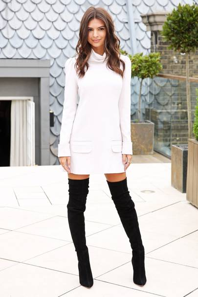 b271749f5a A Zimmermann polo neck dress was the look of the day for Emily Ratajkowski.  Naturally she teamed her comfy knit with a pair of sexy thigh-high boots.