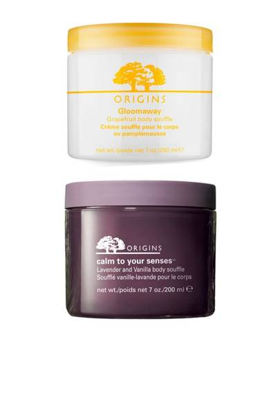 Origins Calm To Your Senses & Gloomaway Body Soufflés, £25 each