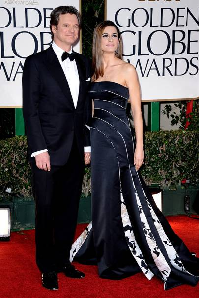 Colin Firth and Livia Firth at the Golden Globes 2012
