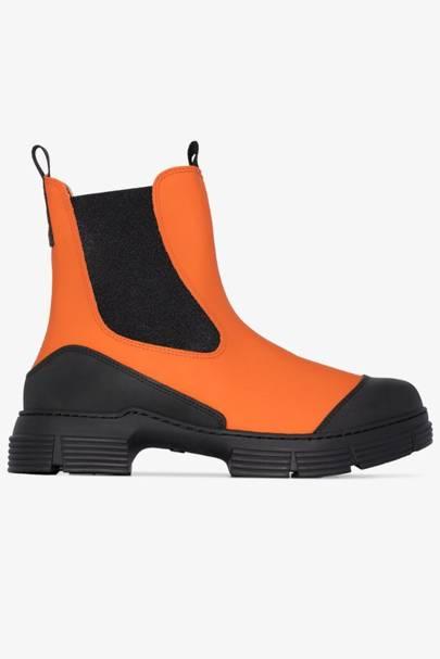 GANNI: Orange Ankle Boots