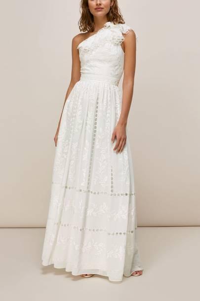 One shoulder high street wedding dresses