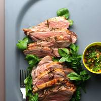 Butterflied Rosemary Roast Leg of Lamb With Ginger Mint Salsa On A Bed Of Watercress