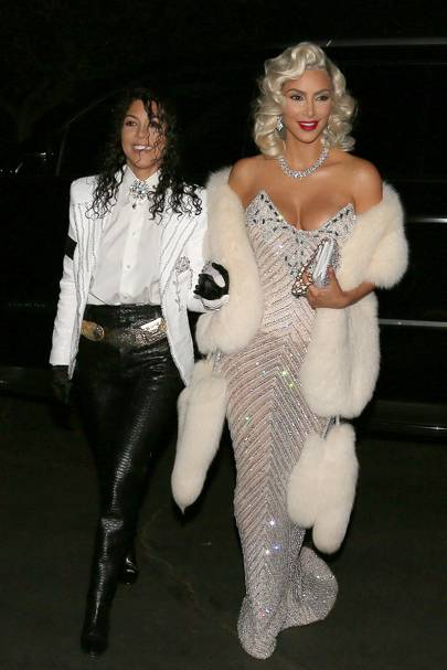 Kim and Kourtney as Michael Jackson and Madonna